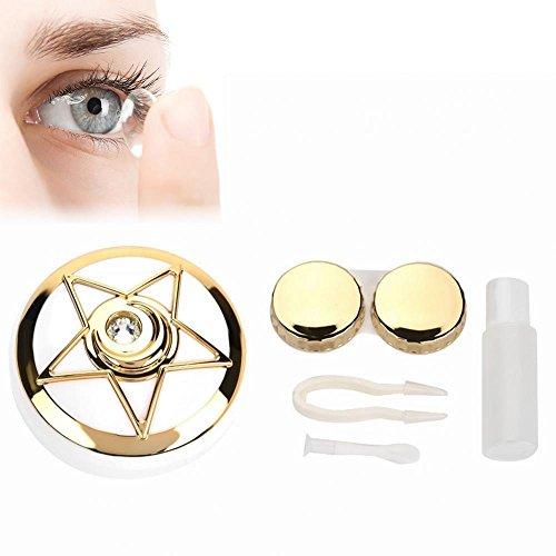 Kontaktlinsenbehälter, Tragbarer Kontaktlinsen Halter mit Spiegel Pentagram Form Objektiven Netter Reizender Reise Ausrüstungs Behälter Kasten(Gold)