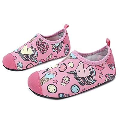 JOINFREE Niños Niñas Nadar Zapatos para el Agua Deportes acuáticos Calcetines Zapatillas Zapatos para la Piscina (Caramelo Unicornio,30-31)