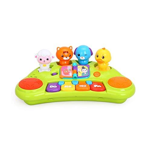 Digitale piano Cartoon Animal Keyboard Music Piano Kinderspeelgoed jongens en meisjes 3 jaar oud puzzel vroegschoolse educatie (Kleur: geel) (Color : Yellow)