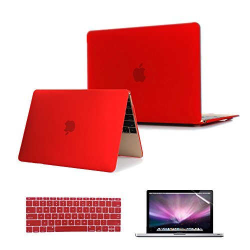 Se7enline MacBook 12 inch Case 2015-2018 Laptop Hard Shell Protective Cover Case for MacBook 12-Inch Model A1534 with Retina Display, Silicone Keyboard Cover+ LCD Screen Protector, Red