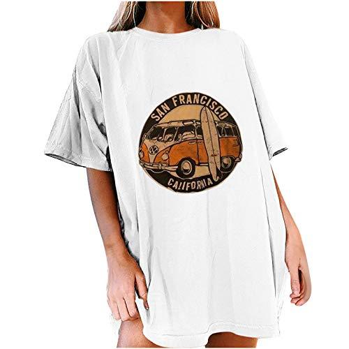XOXSION Camiseta de verano para mujer, camiseta vintage con estampado de sol y luna, camisa informal de manga corta con cuello redondo D blanco. M