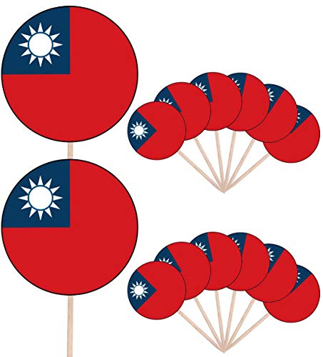 Taiwan Vlag Party Food Cake Cupcakes Picks Sticks Vlaggen Opstaan Decoraties Toppers (Pak van 14)