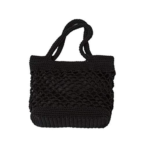 TENDYCOCO Bolso de playa, bolso de paja para el hombro, portátil, bolso de mensajero, bolso de mano (negro)
