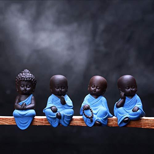 Pet Conjunto De 4 Mini Adornos De Buda Afortunado Sentado Decoración del Hogar Adornos De Jardín Interior O Exterior Figuras De Yoga De Meditación Feng Shui A