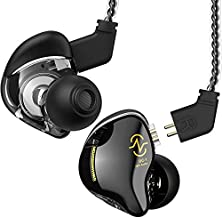 Yinyoo in Ear Monitor Headphones CCZ Coffee-Bean Over Ear Earbuds Wired Earphone with 1DD HiFi Bass Sound for Teen, Musicians Stage, Drummer for Gym Workout Running Church(with mic, Black)