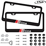 Sparkle-um 2pcs Newest S-line Matte Aluminum Alloy License Plate Frame ,with Screw Caps Cover Set Suit,Applicable to US Standard car License Frame, for Audi S line (Black).