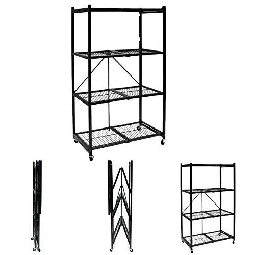 Pop It Origami Storage Solutions R1407W Four Shelf Steel Collapsible Garage Storage Rack w/Wheels