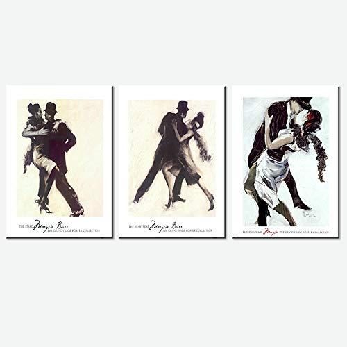 WXDQ Moderne tanzende Paar Wandkunst Poster drucken Leinwand Malerei Bilder für Wohnzimmer Dekor-50x70cmx3 Stück kein Rahmen