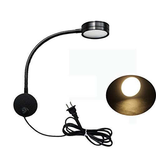 Zeerkeer svanhals lampa, flexibel plugg trådbunden LED vägglampa sänglampa dimbar med strömbrytare sänglampa sänglampor för sovrum, barnrum eller vardagsrum (svart, varm)