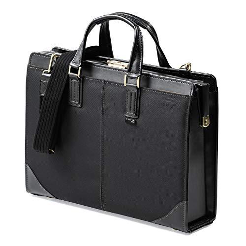 イーサプライ ビジネスバッグ 日本製 肩掛け ショルダー 鍵付き 鎧布生地 ダレスバッグ A4対応 13.3型ワイドまで ブラック EZ2-BAG164BK