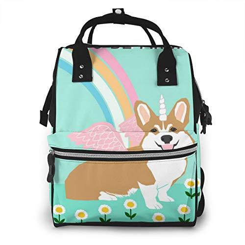 Magical Corgi Tea Towel Design Multi-Function Travel Backpack Nappy Bag,Fashion Mummy Bag