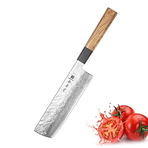 7 '' Cuchillo profesional de chef Gyuto Japonés Damasco Cuchillo de cocina de acero inoxidable de acero inoxidable Muy afilado cuchillos de madera de oliva