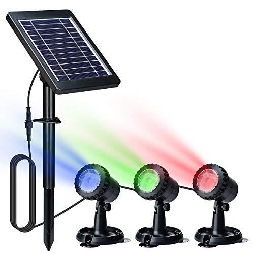 Lychee Solar Teichbeleuchtung,LED Lighting Gartenteich Lampe RGB-Farbwechsel Aquarium Licht 18 LED Unterwasserleuchte Teichbeleuchtung Aquarium LED Beleuchtung Aquariumlampe(Set von 3 Leuchten)