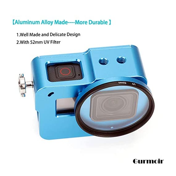"""Gurmoir Case Aluminum Alloy Back Door Housing Frame for Gopro Hero 8 Black Action Camera, Wire connectable Protective… 2 This Aluminum Housing Designed for Gopro Hero 5/Gopro HERO (2018) Action Camera, Blue Make Your Gopro More Unique Your Gopro camera will be more safety during high-velocity sport or daily using. No more worries about the camera will falling out. you can just enjoy your shooting time with 1/4 inch screw hole. the case can compatible with any 1/4"""" tripod. or you can DIY your kit. Sides open allow quick connect of cables. with the Cold Shoe, you can mount a flash, video light, microphone on the top of this case"""