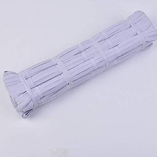LEBEXY Gummiband Gummilitze gewebt flach, je 10 m. Elastisches Gummiband, Schlüpfergummi, Hosengummi, Nähband für Verschiedene Kleidungsstücke 12(weiß, 5 mm)