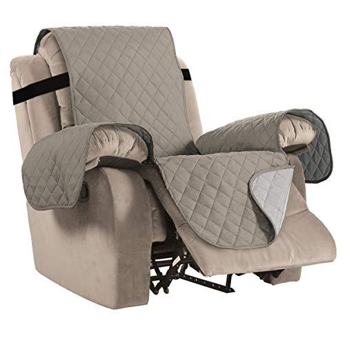 Sofabezug Wasserabweisender, umkehrbarer Lehnstuhl Schonbezug für kleinen Lehnstuhl, 2-Zoll-Verstellbarer Gurt, Gesteppter Möbelschutz, Mikrofaser, weich und wasserabweisend Khaki/Beige