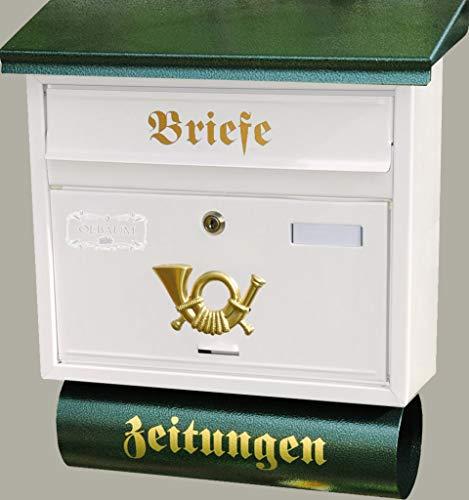 Retro Design Briefkasten, Motiv mit Zeitungsrolle, Flachdach mit Katalogeinwurf, WEISS-GRÜN-Dg-Bw-Ew-Zg-1