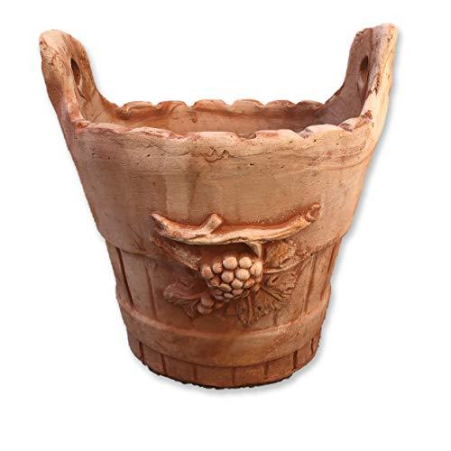 Vaso mastello da Giardino in Terracotta Diametro 30 H30 cm, Artigianale Handmade, per Esterno e Resistente al Gelo (1)