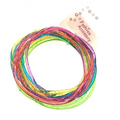 12 Girls Multi-Coloured Jelly Bracelets IN2634