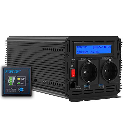 EDECOA Inverter 2000w convertisseur de tension 24v 230v onduleur sinusoïdal modifié 24v 220v LCD...