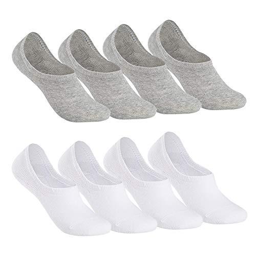 Falechay Chaussettes Basses pour Femmes Hommes 8 Paires Socquettes de Sport en Coton Antiglisse des Décontractées-BlancGris 39-42