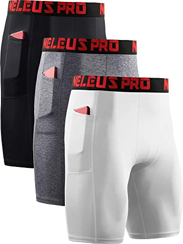 Neleus Men's Compression Shorts with Pockets 3 Pack,6064,Black/Grey/White,US XL,EU 2XL