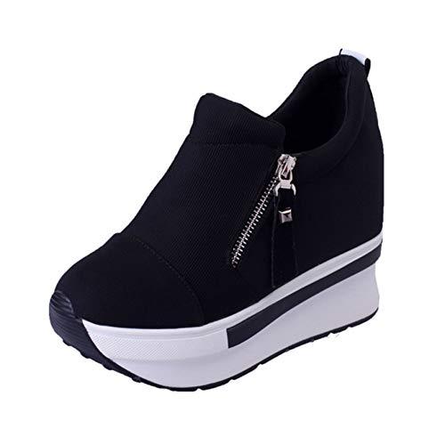 Zapatos de Plataforma para Mujer cómodos Antideslizantes Ligeros Bajos con Cremallera Zapatos Casuales Zapatillas de cuña con tacón Oculto para Mujer