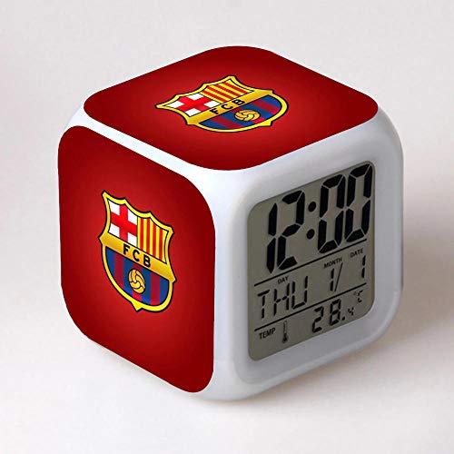 Barcelona Sport Football FC Réveil 7 Couleurs Changeantes Veilleuse Led Réveil Numérique étudiant Brillant Enfants Horloge De Bureau -3 Avec Thermomètre Adulte Enfants Cadeau