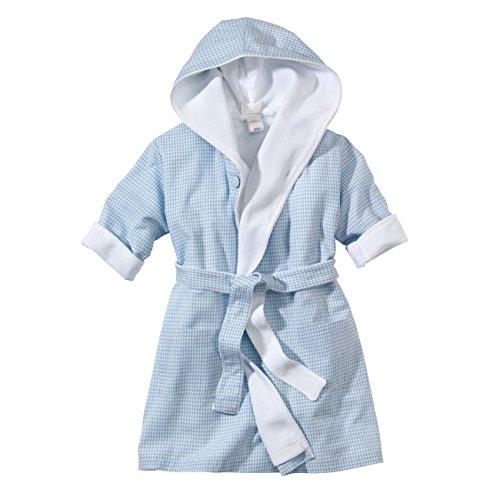 WELLYOU, Baby-Kinder-Bademantel, hellblau-weiss Vichy-Karo, für Jungen, 100% Baumwolle, Größe 68-74