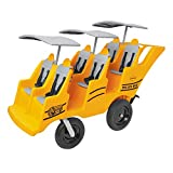 Angeles 6 Passenger Bye-Bye Bus, Yellow Daycare Multi-Passenger Buggy, 6 Seat Kids Commercial Stroller, Bye-Bye Toddler Buggy, Canopy Sold Separately