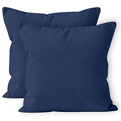Encasa Homes Fundas de Cojines 2 Piezas (50 x 50 cm) - Azul Marino - Lona de algodón teñida Forma sólida, Decorativa, Grande y Colorida, Lavable Funda Almohada para Sala de Estar, Dormitorio