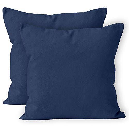 Encasa Homes Fundas de Cojines 2 Piezas (40 x 40 cm) - Azul Marino - Lona de algodón teñida Forma sólida, Decorativa, Grande y Colorida, Lavable Funda Almohada para Sala de Estar, Dormitorio