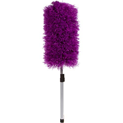 Telescopic Microfiber Duster – Detachable Dusting Tool with Long Handle – Premium Dusters for Cleaning – Scratch-Resistant Aluminum Pole – Easy to Use –and Washable Head (Purple)