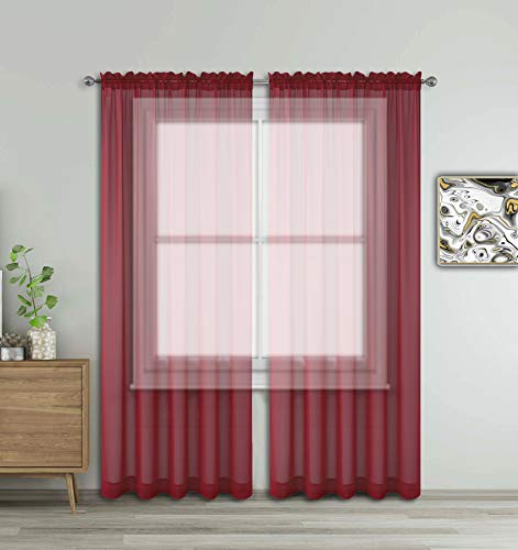 """WPM WORLD PRODUCTS MART Burgundy Window Sheer Treatment Panels Beautiful Rod Pocket Voile Elegance Curtains Drapes for Living Room, Bedroom, Kitchen Fully Stitched, Set of 2 (Burgundy, 84"""" Inch Long)"""