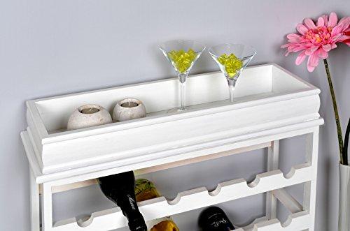 Weinregal Weiß für 24 Flaschen Flaschenregal weißes Holz - 5