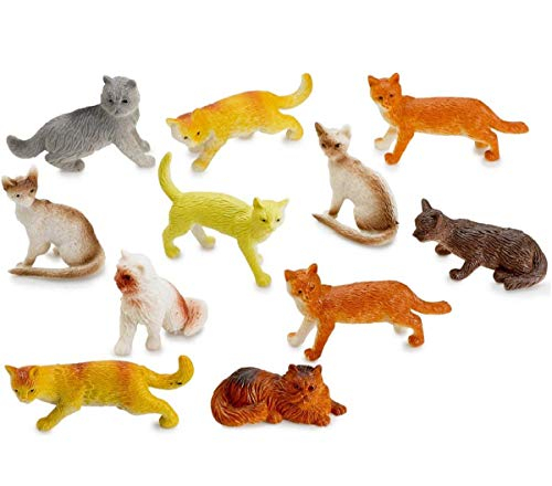 Kicko Miniature Authentic Cat Figurines Toys - 12 Assorted, 2 Inch - for Kids, Boys, Girls, Cat Lovers, Play, Decoration, and Party Favors