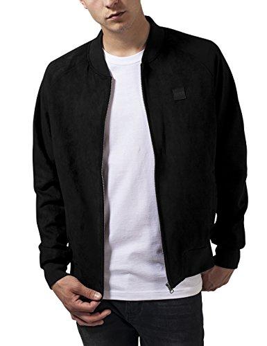 Urban Classics Herren Imitation Suede Raglan Bomber Jacket Jacke, Schwarz (Black 7), Medium