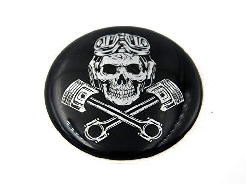 3D Doming Aufkleber rund Skull-Pistons schwarz-Chrom