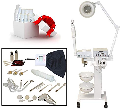 LCL Beauty 9-in-1 Facial Machine: Galvanic Current, High Frequency, Massage Brush, Vacuum Extractor, Spray Diffuser, Aromatherapy, Mag Lamp, Wood