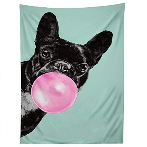 Society6 Big Nose Work Bubblegum French Bulldog Tapestry, 50' x 60', Blue
