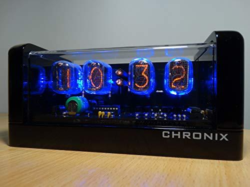 CHRONIX Nixie Röhren Uhr mit 4 x IN-12 Röhrenanzeigen & Alarm & Blaue Hintergrundbeleuchtung & Holzgehäuse Schwarz Glänzende Oberfläche