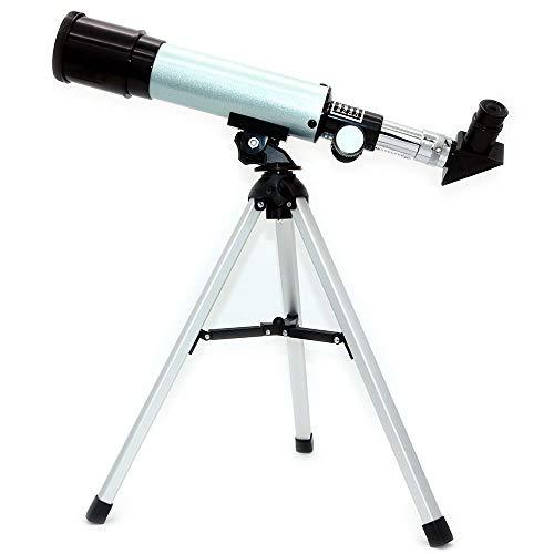 NUZAMAS Telescopio astronómico para refractor de ciencias educativas con trípode superligero para principiantes de astronomía, reloj de estrellas nocturnas, longitud focal de 360 mm, apertura de 50 mm