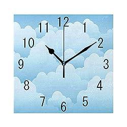 GULTMEE Square Wall Clock Home Decorative, Digital Design Consecutive Segments Lamellar Look of Cumulus Cloud Pattern, 7.8x7.8
