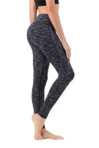 QUEENIEKE Yoga Leggings mit Tasche Klassische Bauchkontrolle Mittlere Taille Laufhose Workout Sporthose für Damen Farbe Schwarz Space Dye Größe S(4/6)