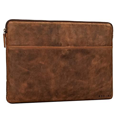 STILORD 'Murphy' Laptoptasche 15.6 Zoll Leder Vintage Sleeve ideal als MacBooktasche 16 Zoll Laptop Hülle 15 Zoll Notebook Tasche Schutzhülle Dokumentenmappe, Farbe:aneto - braun