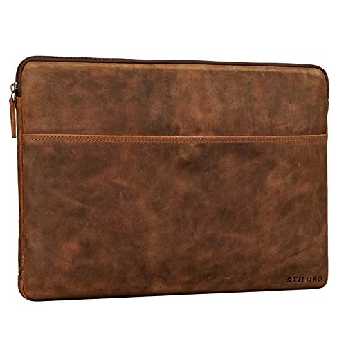 STILORD 'Murphy' Laptop Sleeve 15.6 inch Leather Vintage Case Cover for MacBook 16 inch and 15 inch Notebook Document Folder Organizer, Colour:aneto - Brown
