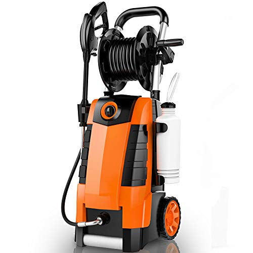 TEANDE 3800PSI Electric Pressure Washer, 1800W 2.8GPM Power Washer with Hose Reel, Spray Gun, Quick Connect Nozzles, Orange