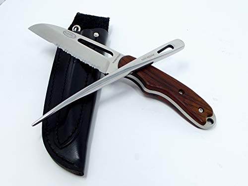 Myerchin Knives W100P Generation 2 Pro Wood Offshore Rigging System Fixed Blade and Marlinspike Fits in Leather Sheath