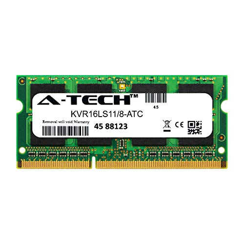 A-Tech 8GB Replacement for Kingston KVR16LS11/8 - DDR3/DDR3L 1600MHz PC3-12800 Non ECC SO-DIMM 2rx8 1.35v - Single Laptop & Notebook Memory Ram Stick (KVR16LS11/8-ATC)