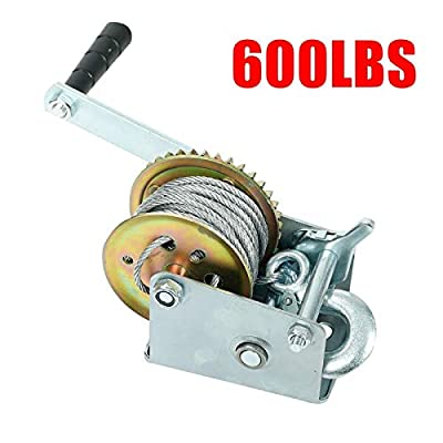 EASYBERG 600 lbs Hand Winch Heavy Duty Steel Cable Crank Gear Winch ATV Boat Trailer with 8m Steel Wire, Manual Operated Ratchet ATV Boat Trailer Marine